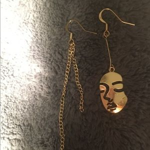 Asymmetrical Gold Plated Face Earrings